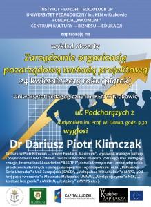 Plakat Wykład otwarty Klimczak 24.04.2015