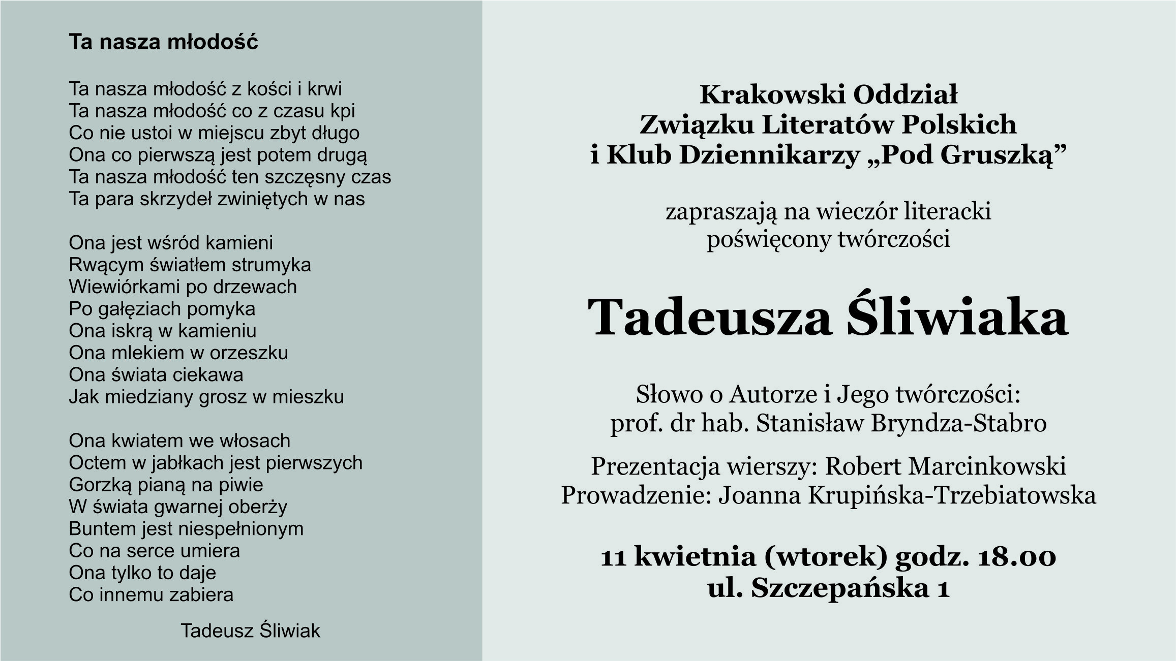 Wieczór Literacki Poświęcony Twórczości Tadeusza śliwiaka